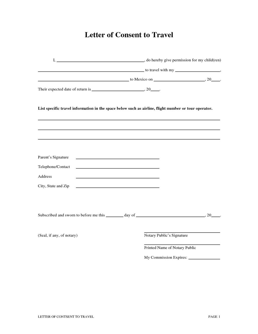 Notarized Letter Template For Child Travel