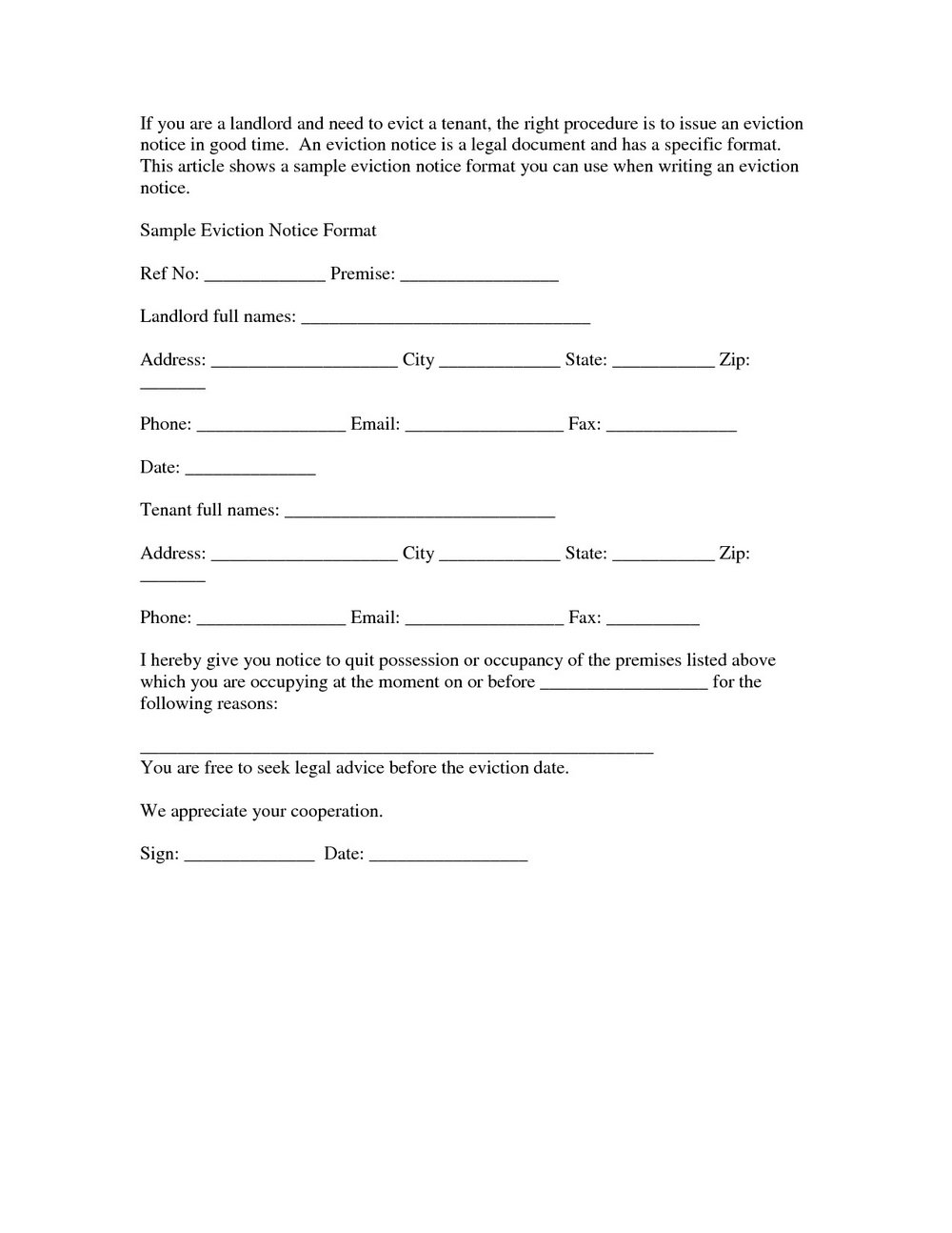 Notice Of Eviction Letter Template