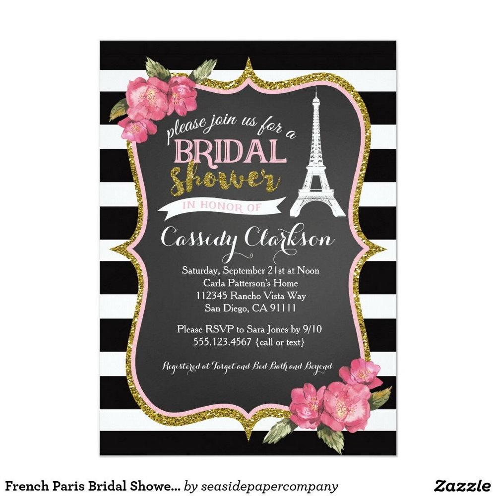 Paris Bridal Shower Invitations Templates