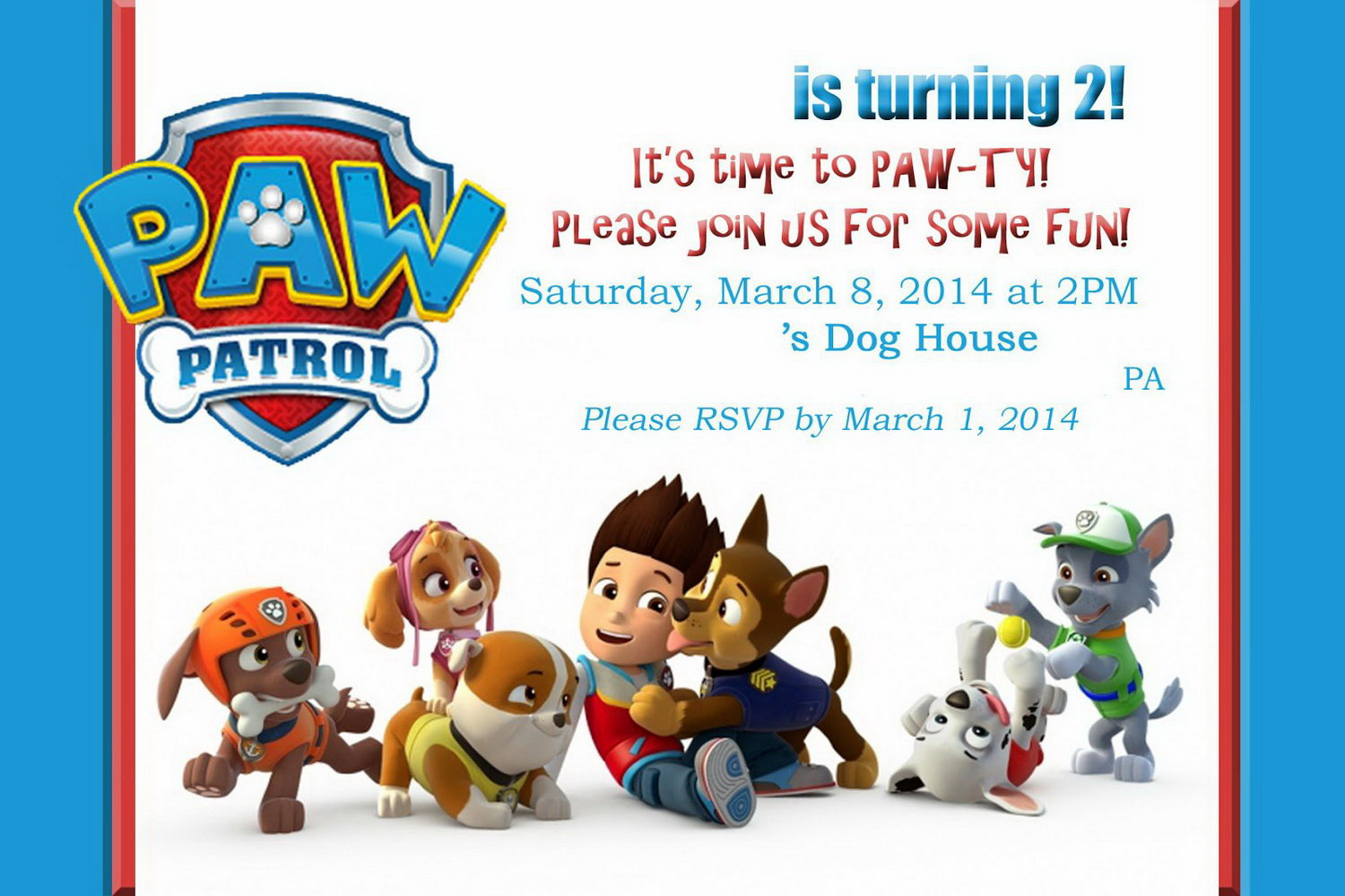 Paw Patrol Birthday Invites Template