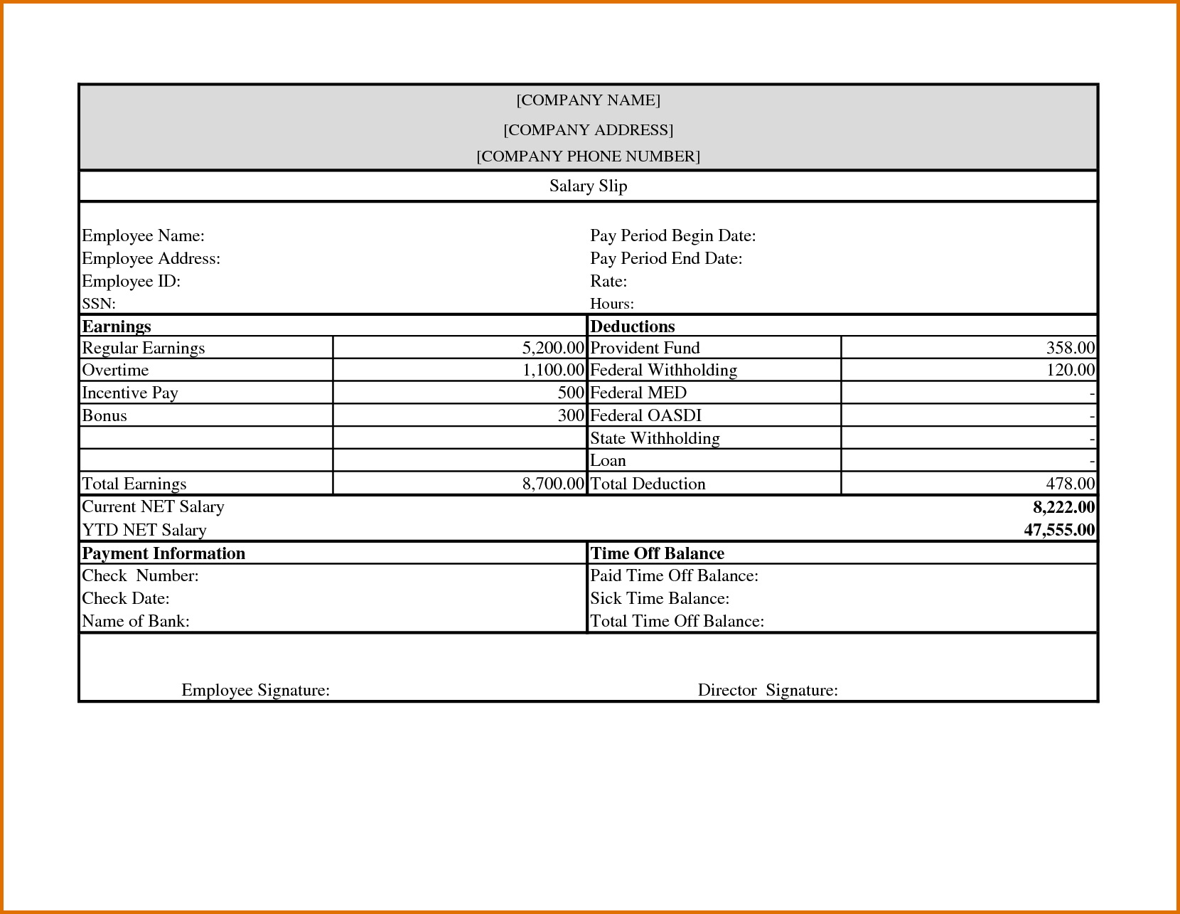 Pay Stub Template Word Document Free