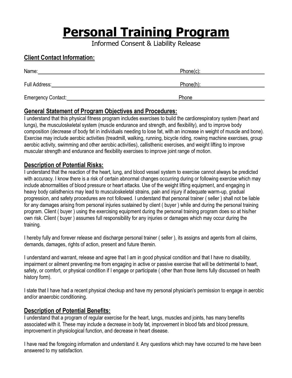 Personal Trainer Liability Waiver Template