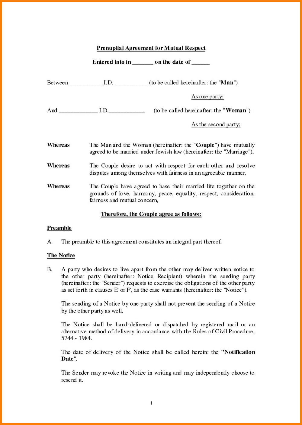 Prenuptial Agreement Australia Template