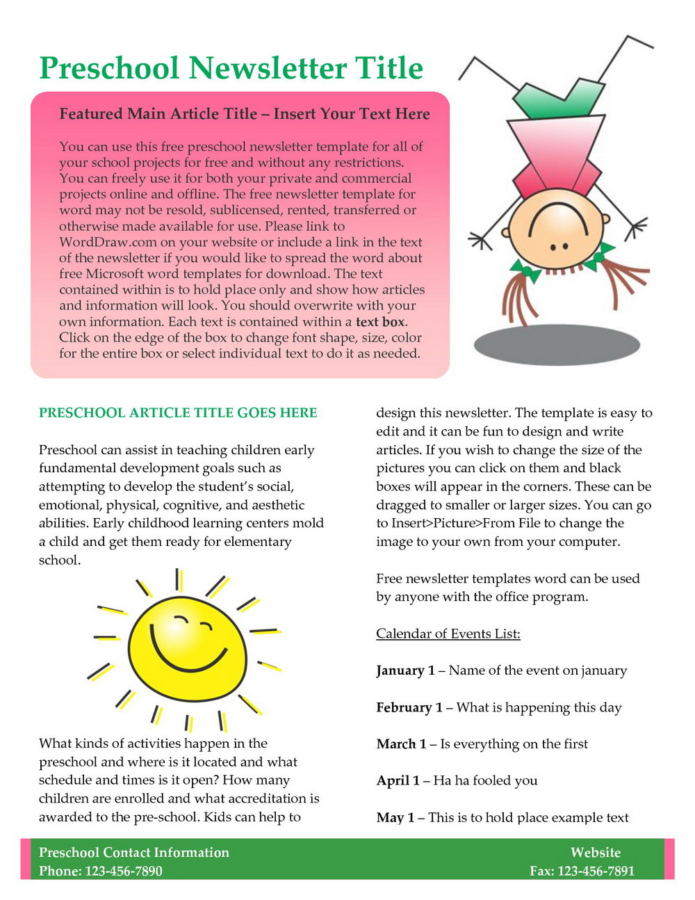 Preschool Newsletter Templates Free Word