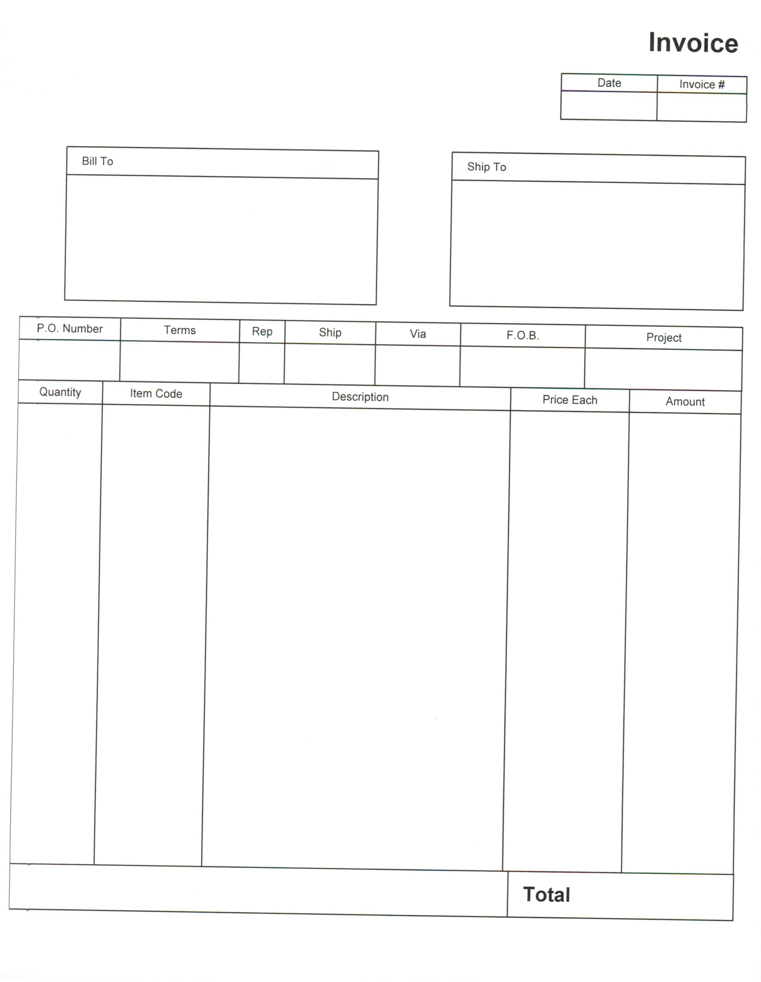 Printable Blank Invoice Template Pdf