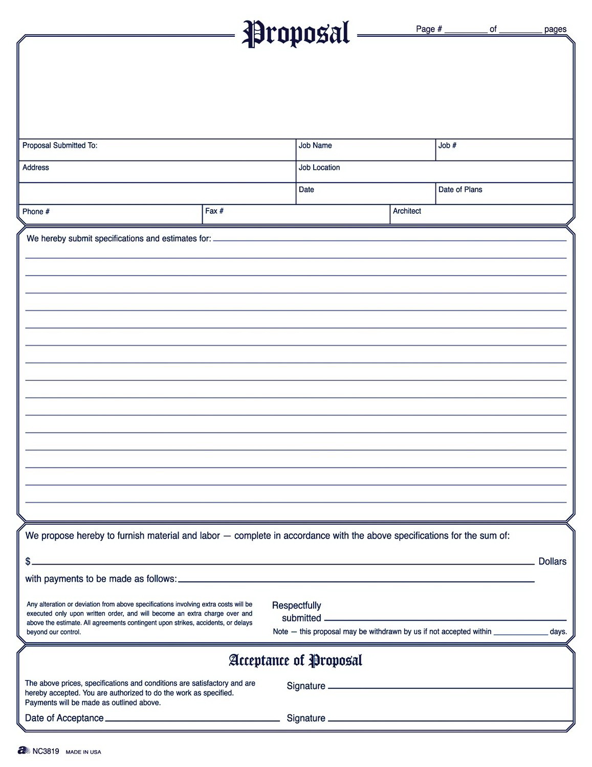Printable Contractor Estimate Template