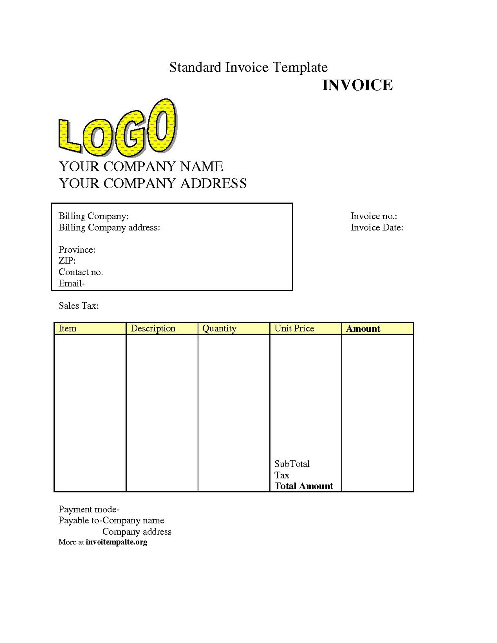 Printable Downloadable Invoice Template