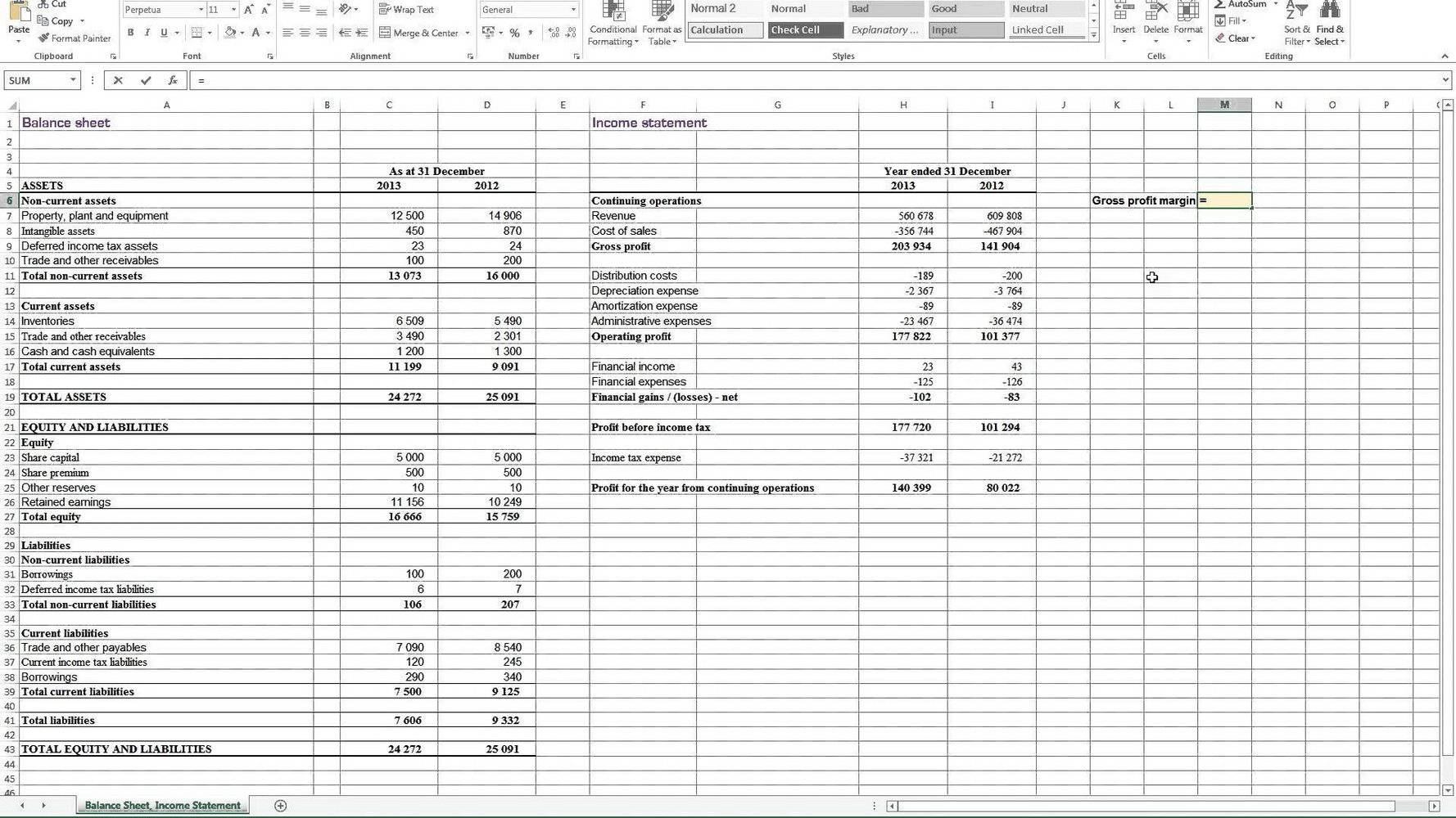 Profit And Loss Account Template Excel