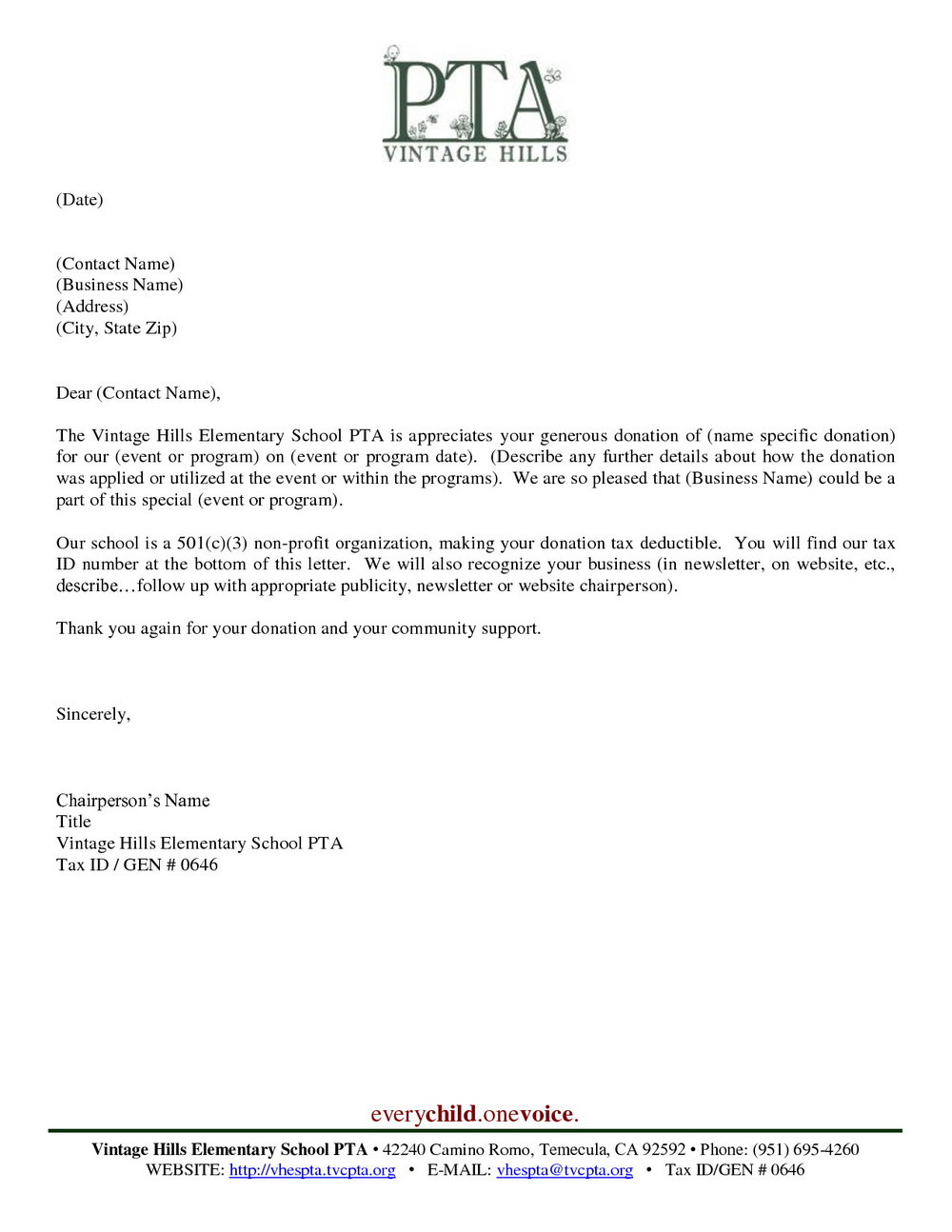 Pta Donation Request Letter Template