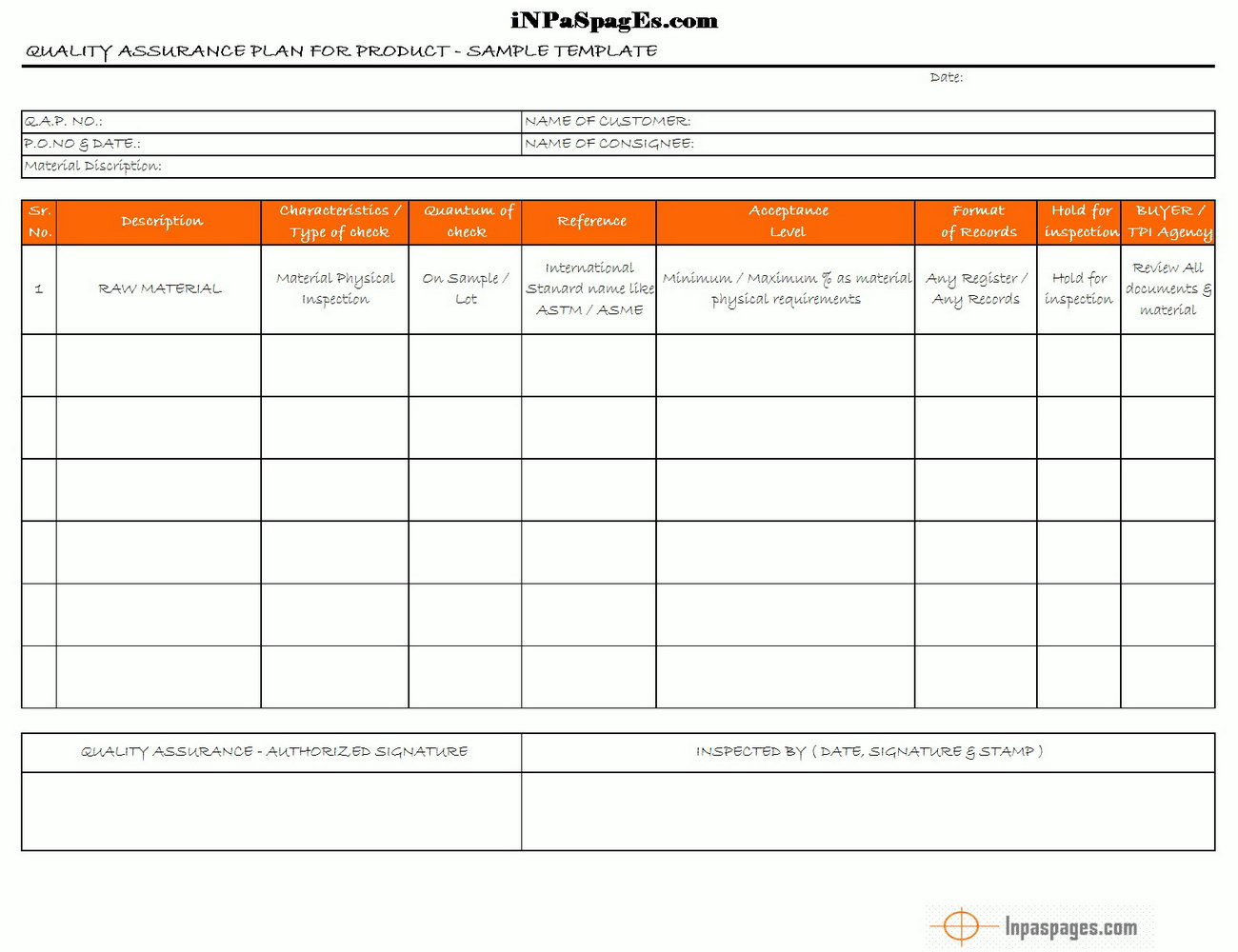 Quality Assurance Plan Template Project Management