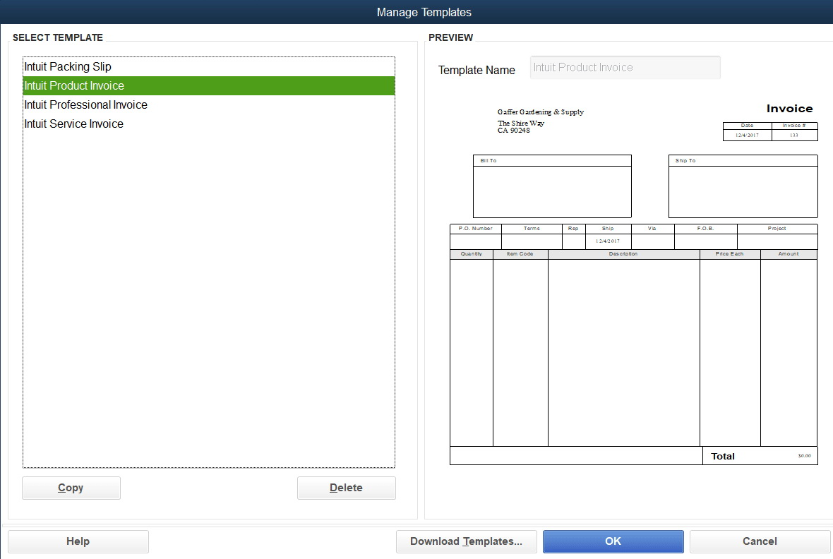 Quickbooks Invoice Templates Free Download