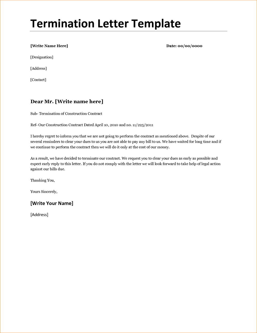 Real Estate Contract Termination Letter Template