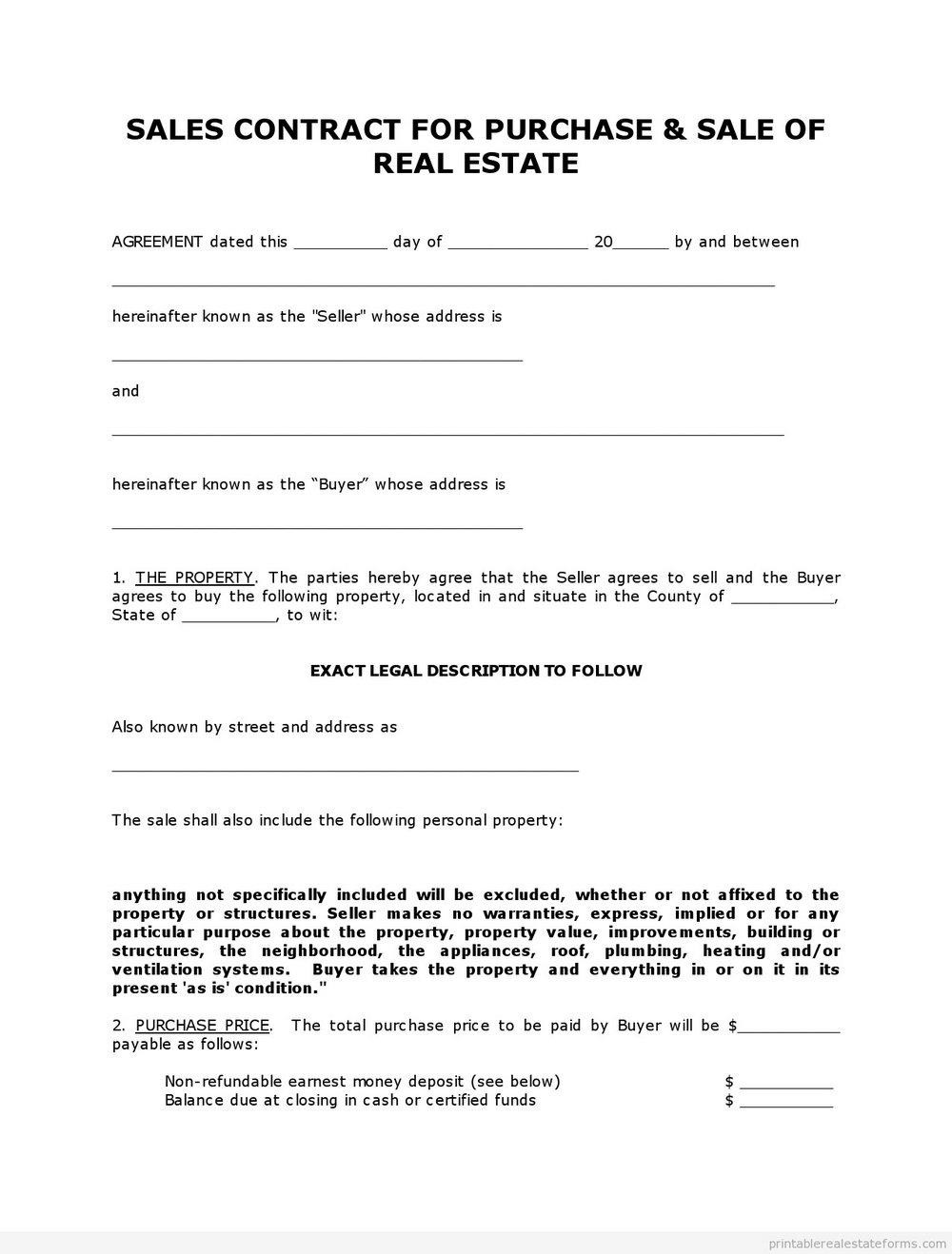 Real Estate Purchase Contract Template