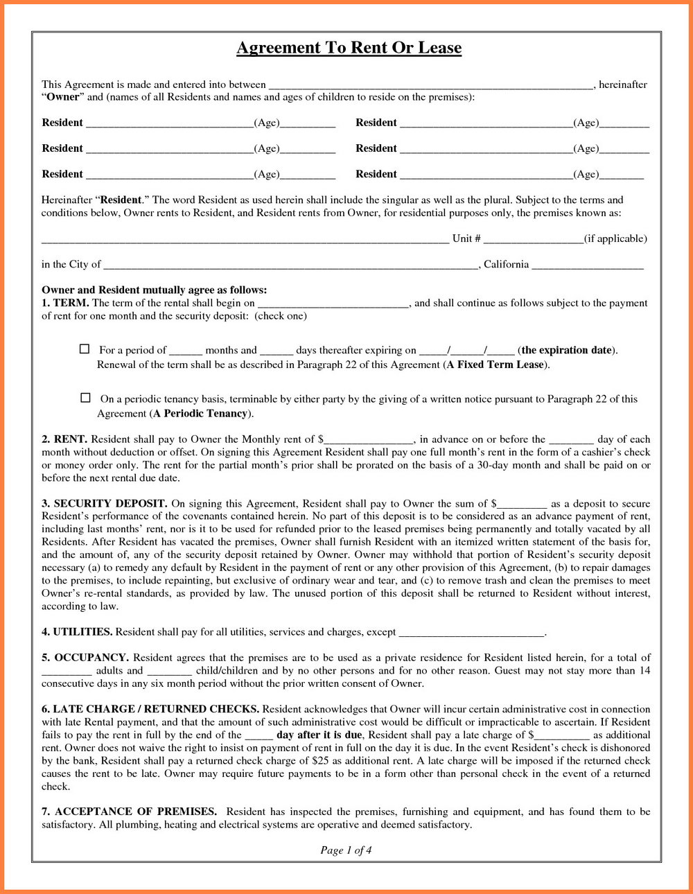 Rental Lease Template Word