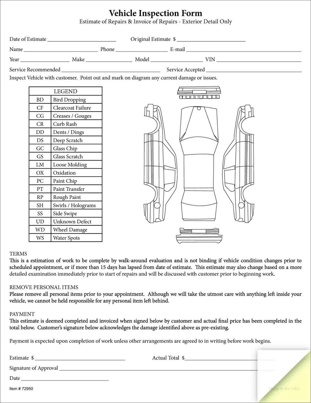 Rental Vehicle Inspection Form Template