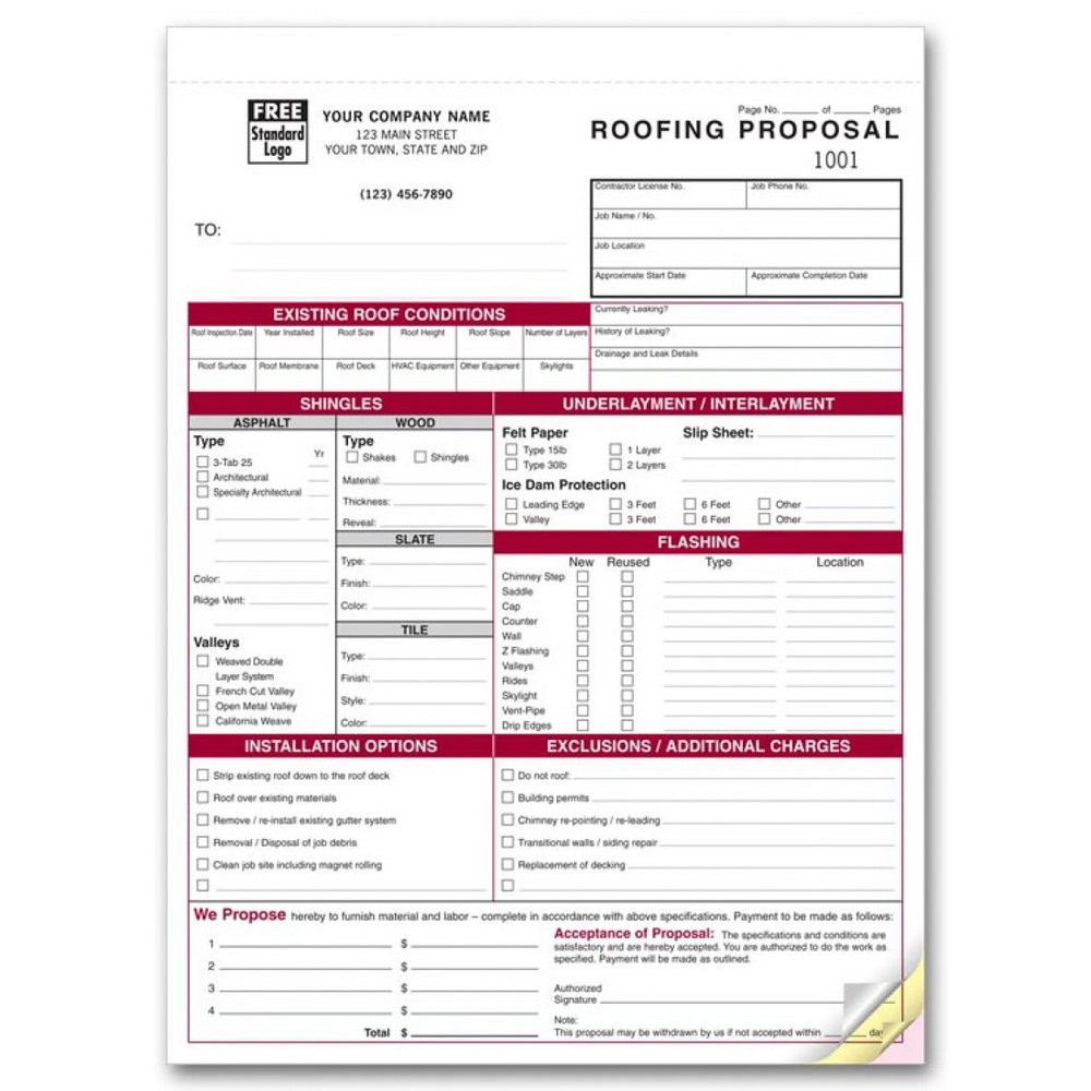 Roofing Estimate Template Free Download