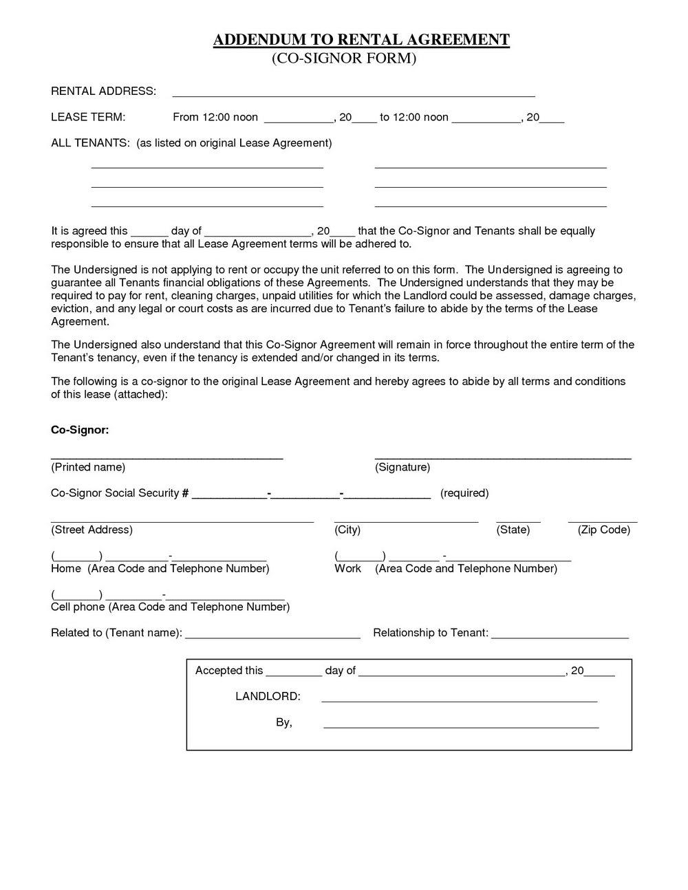 Room Rental Agreement Template California