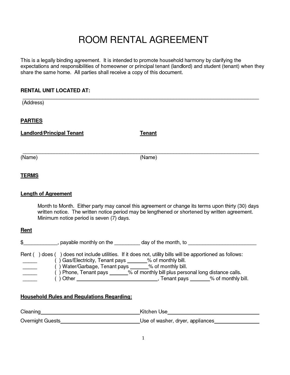Room Rental Agreement Template Uk