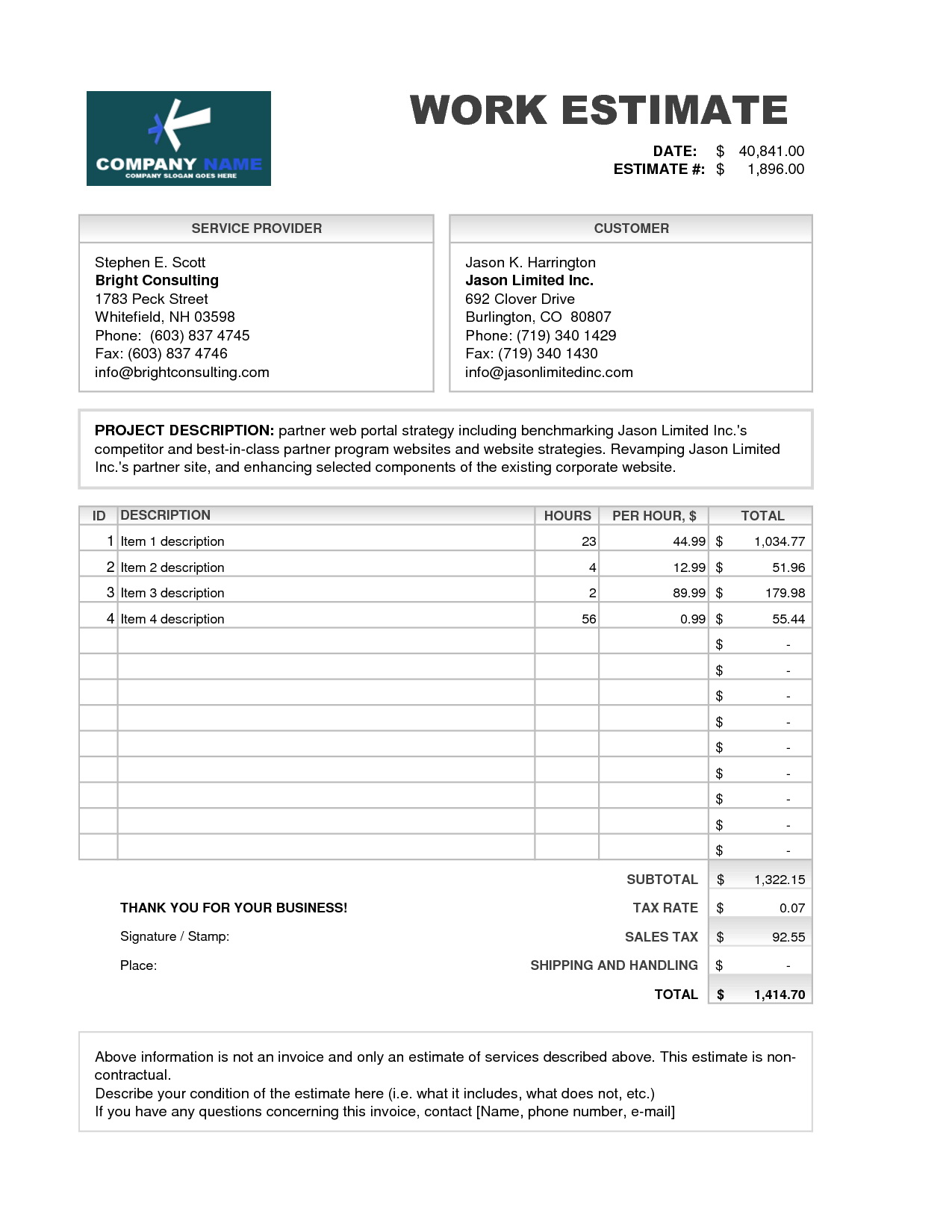 Sample Contractor Estimate Template