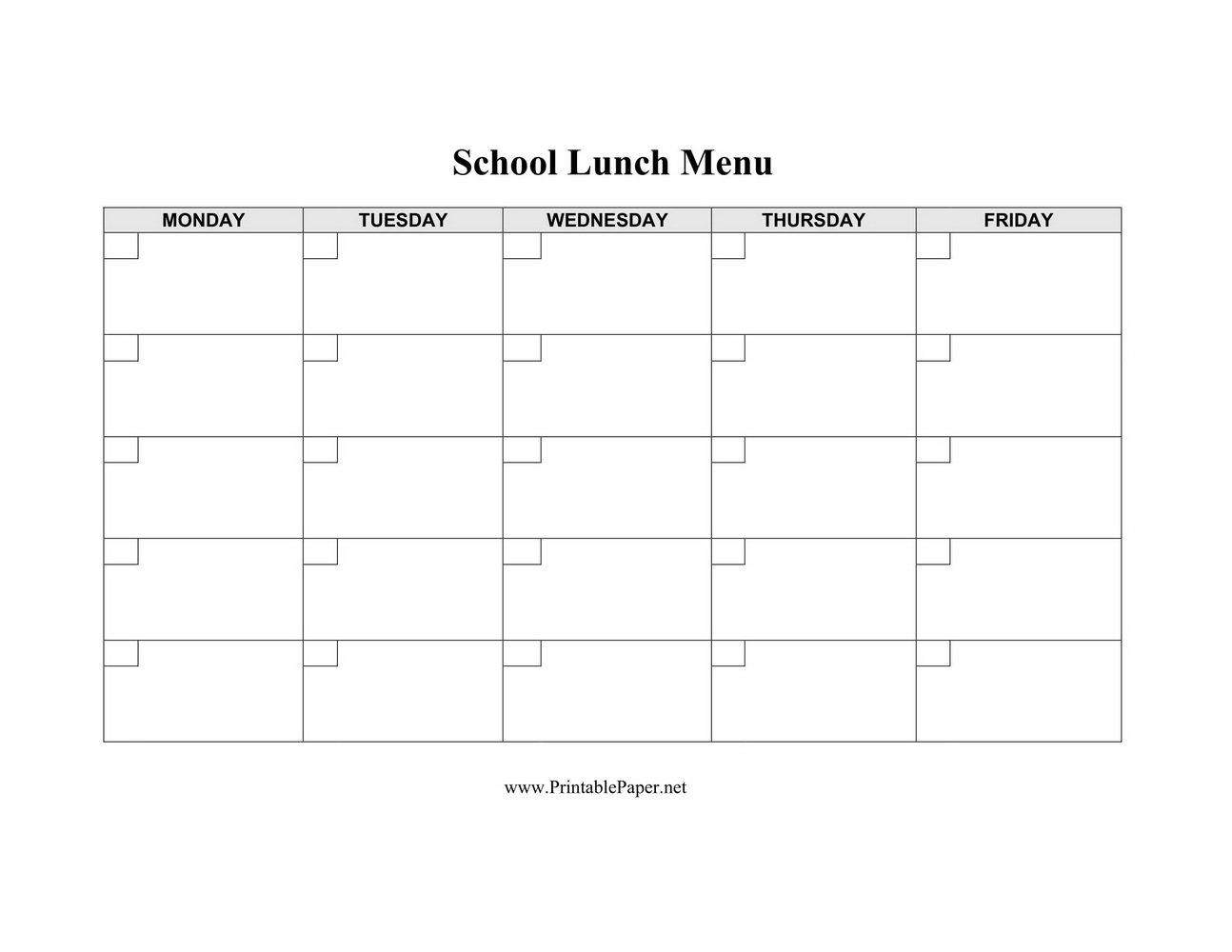 Sample School Lunch Menu Template