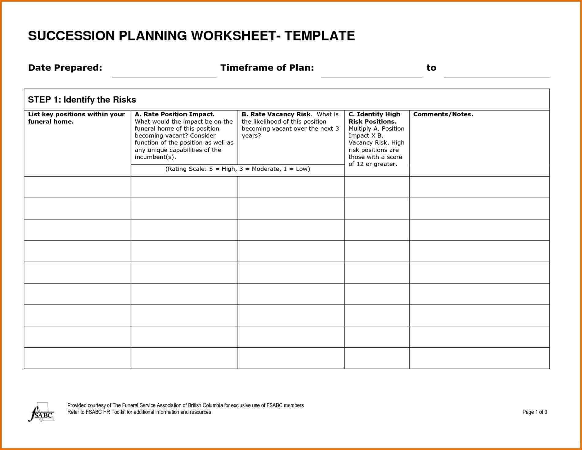 Sample Succession Plan Template