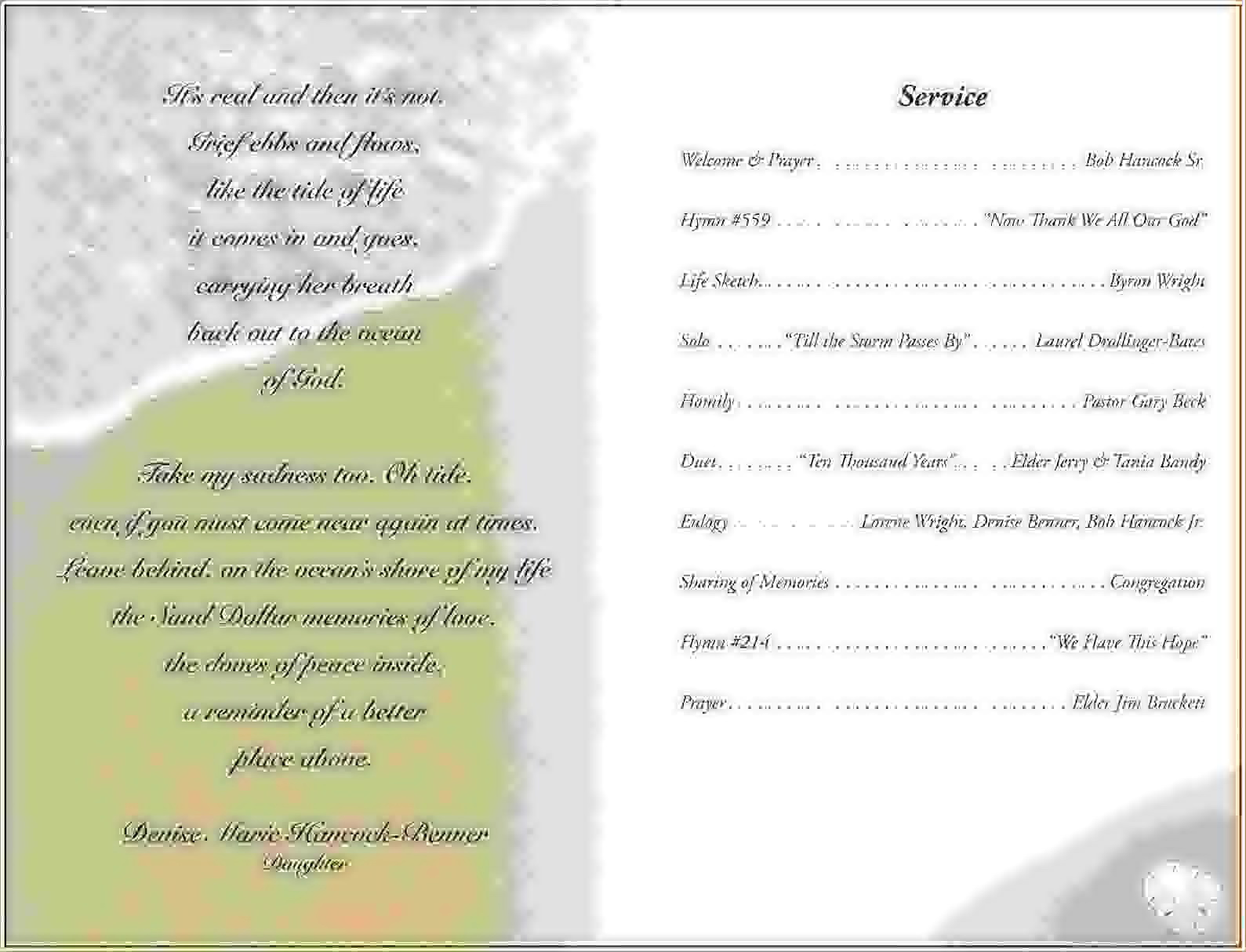 Samples Of Funeral Programs Templates
