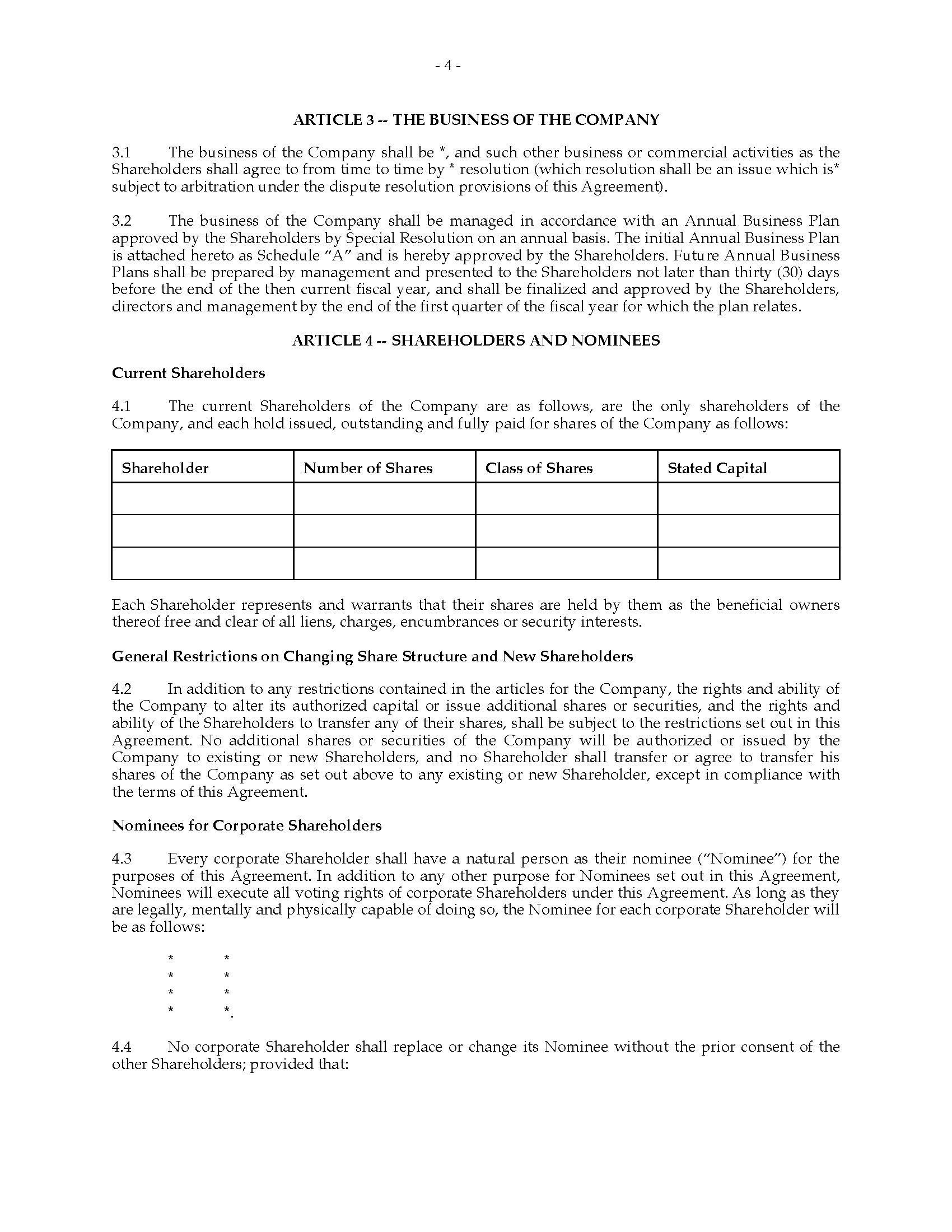 Shareholder Agreement Template Australia