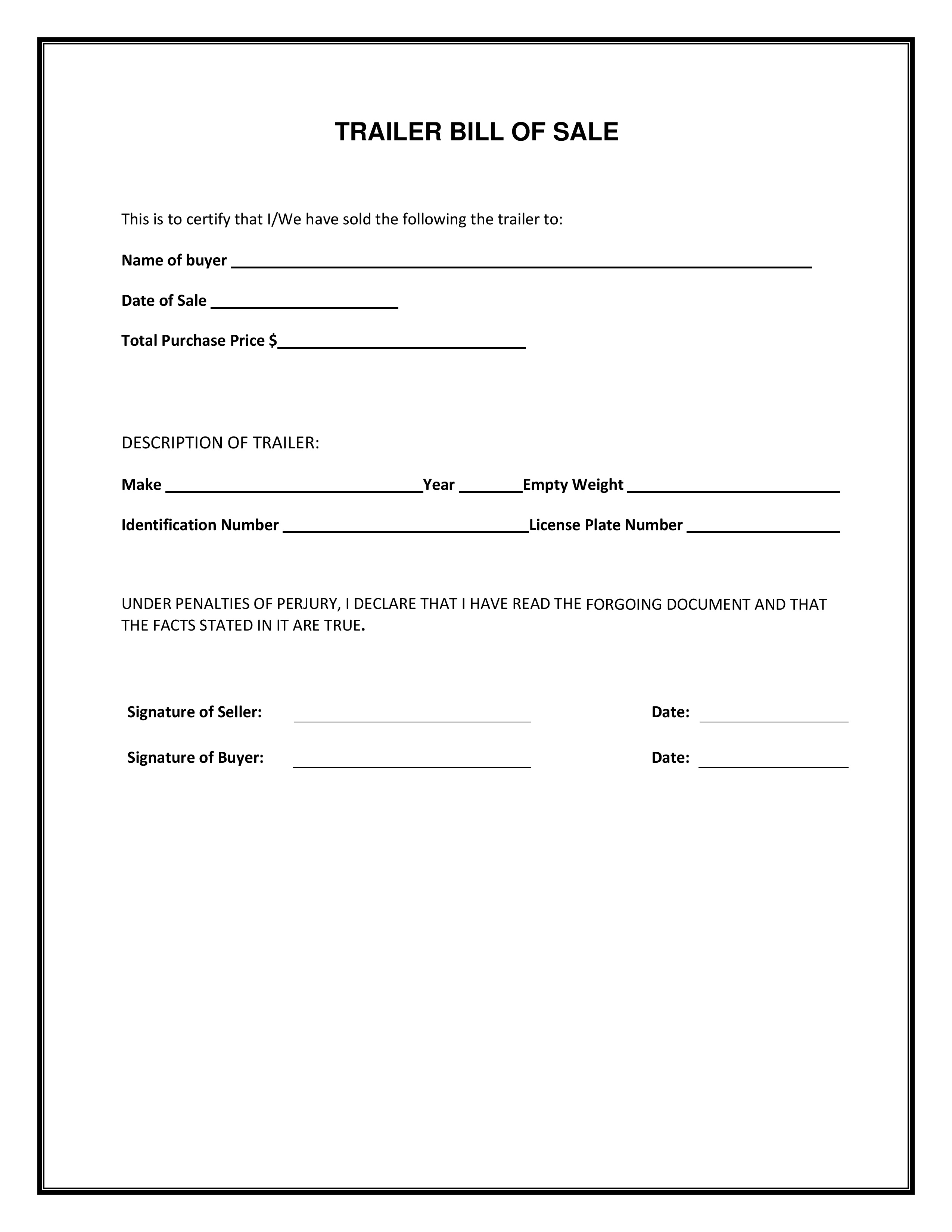 Simple Boat Bill Of Sale Template