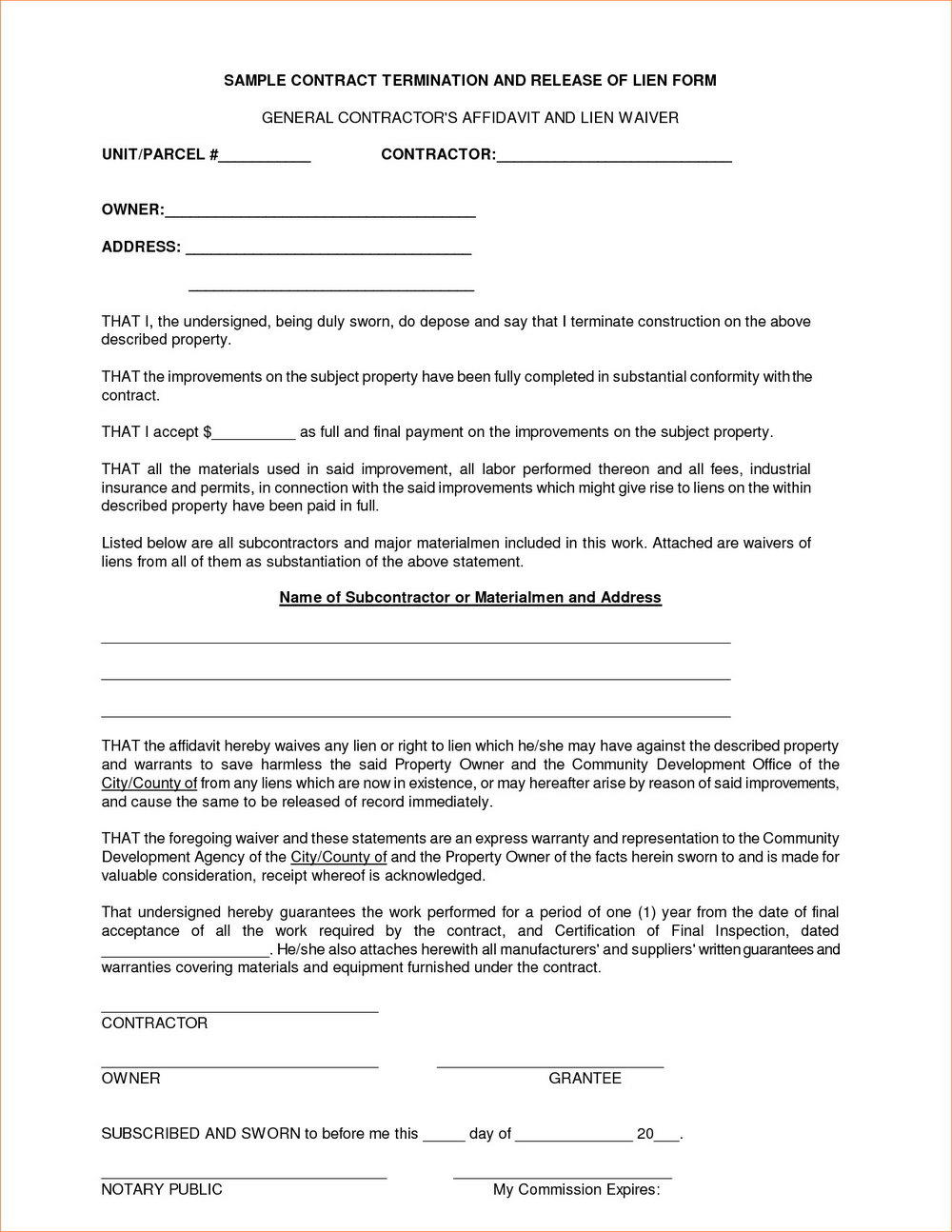 Simple Contractor Agreement Template