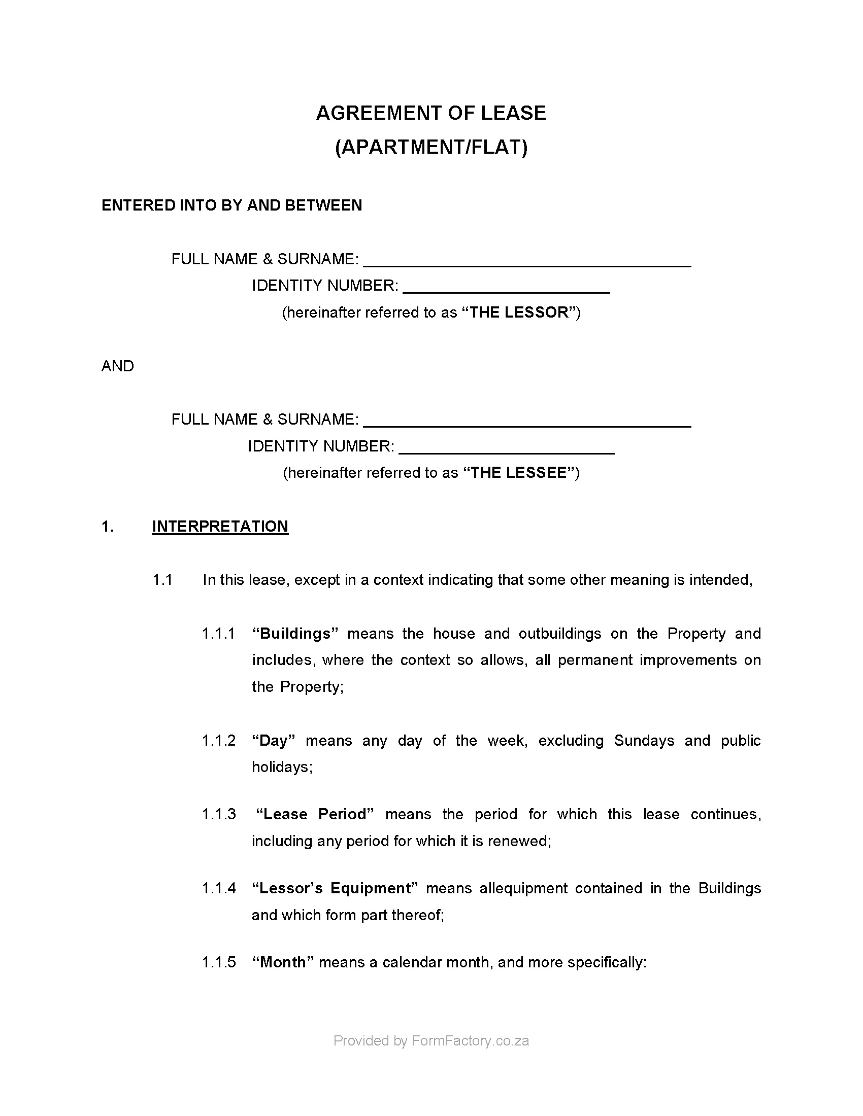 Simple Residential Lease Agreement Template South Africa