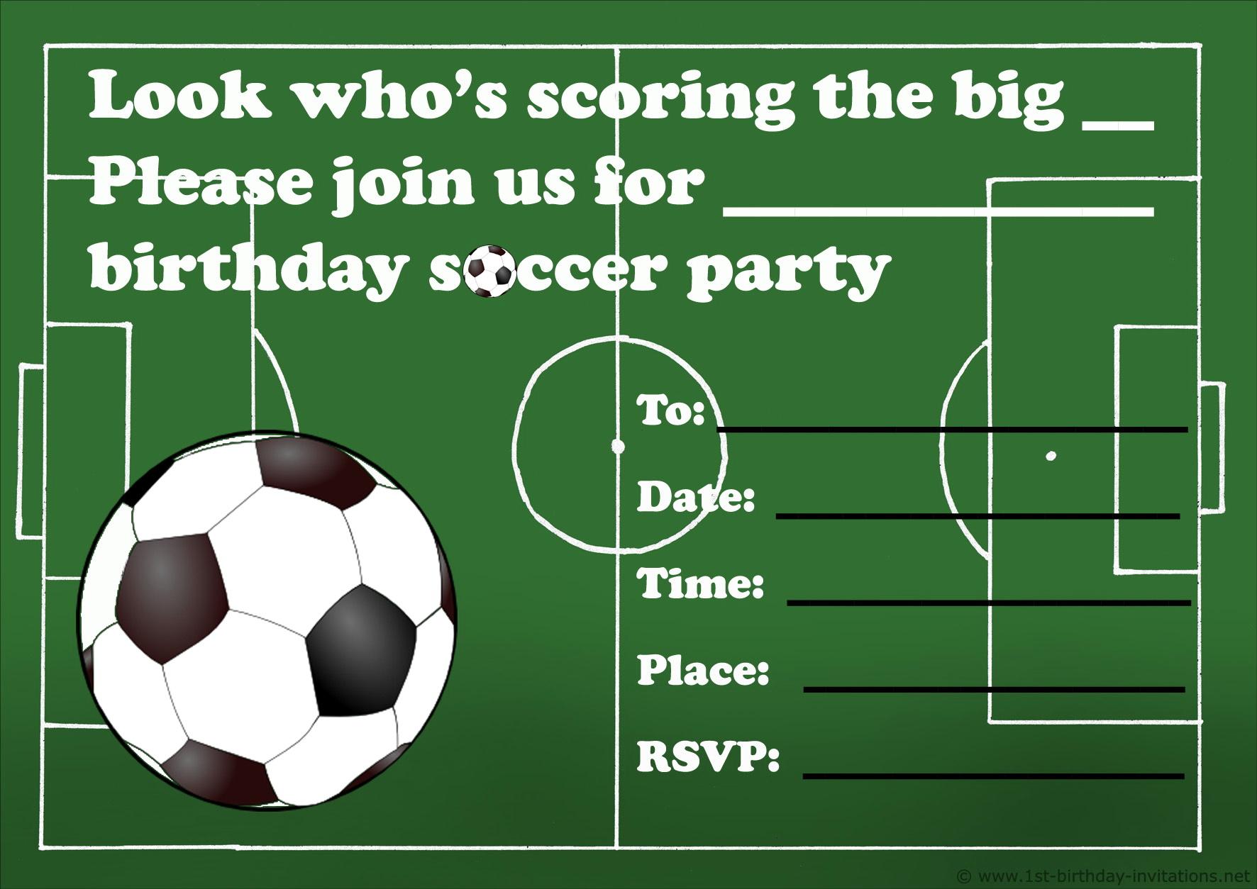 Soccer Birthday Party Invitation Templates Free