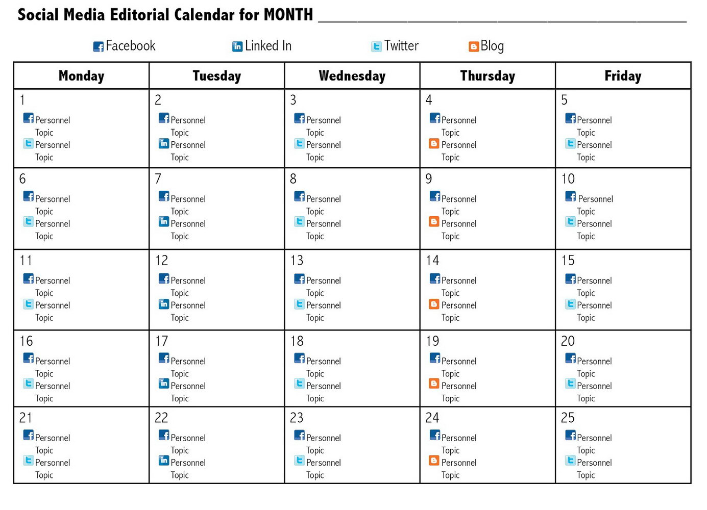 Social Media Editorial Calendar Template Free