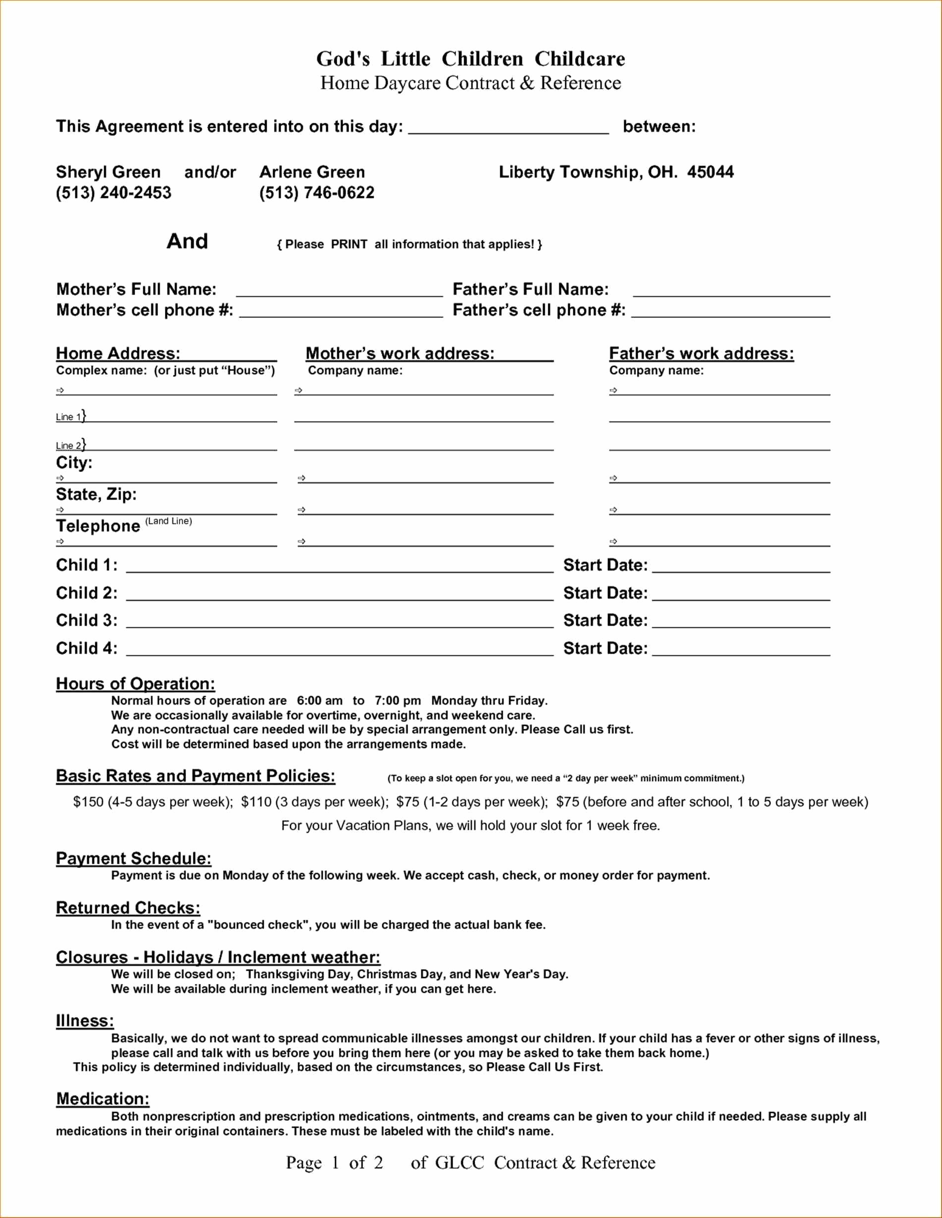 Sole Custody Agreement Template