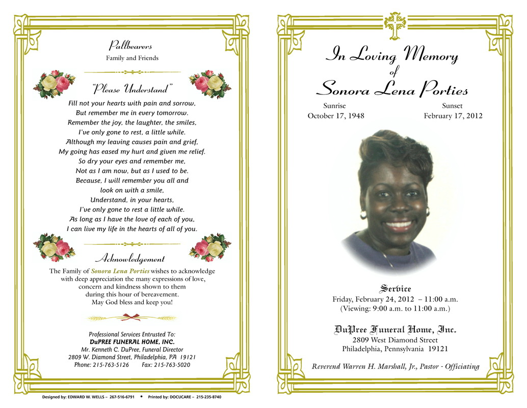 Spanish Funeral Program Template Free