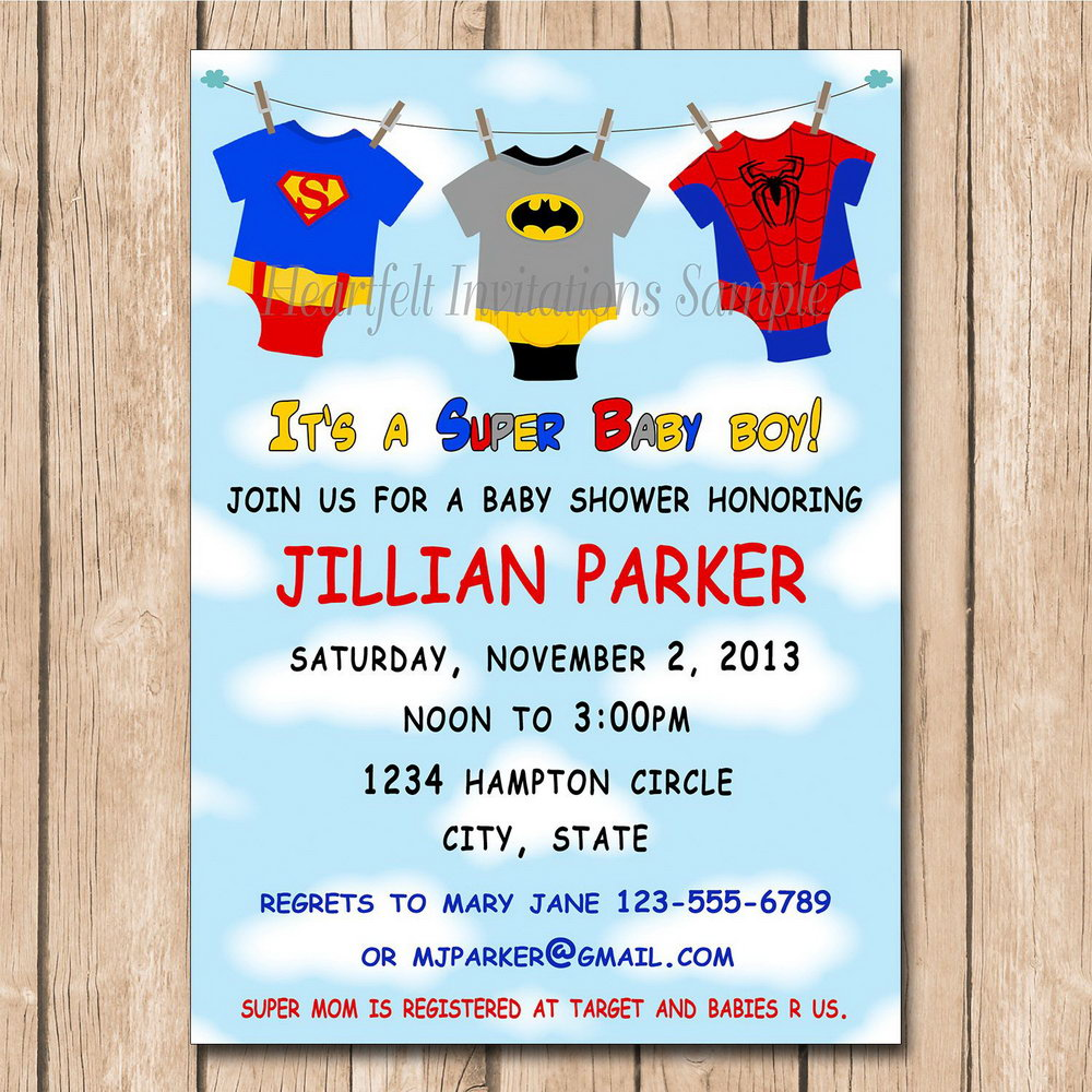 Superhero Baby Shower Invitation Templates Free