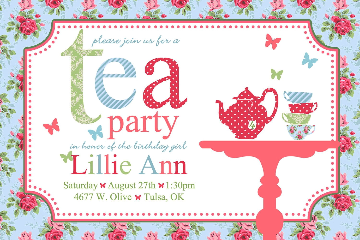 Tea Party Menu Template
