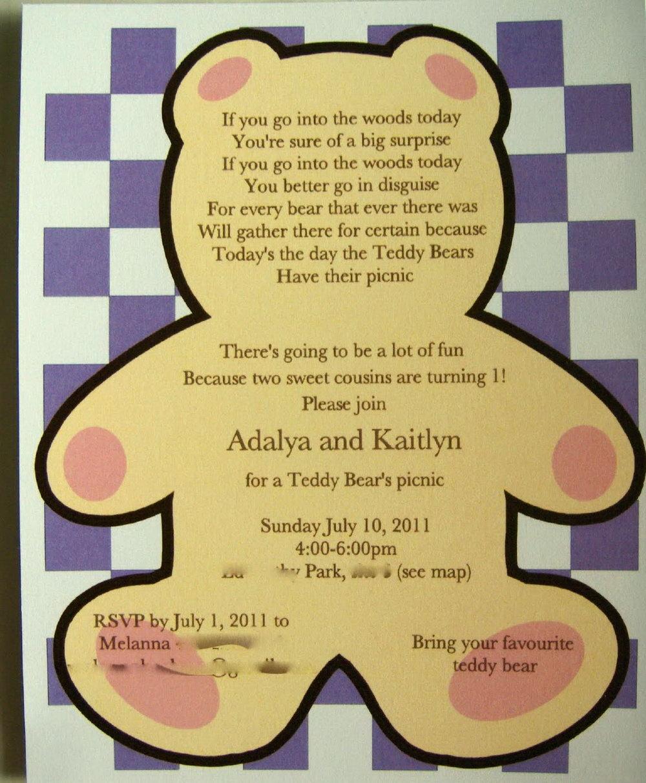 Teddy Bear Picnic Invitation Template Free