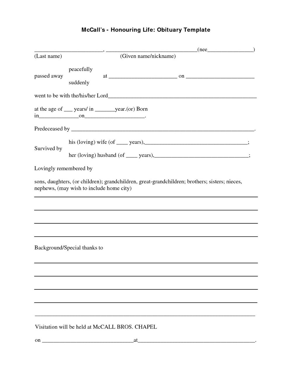Template For Obituary Microsoft Word