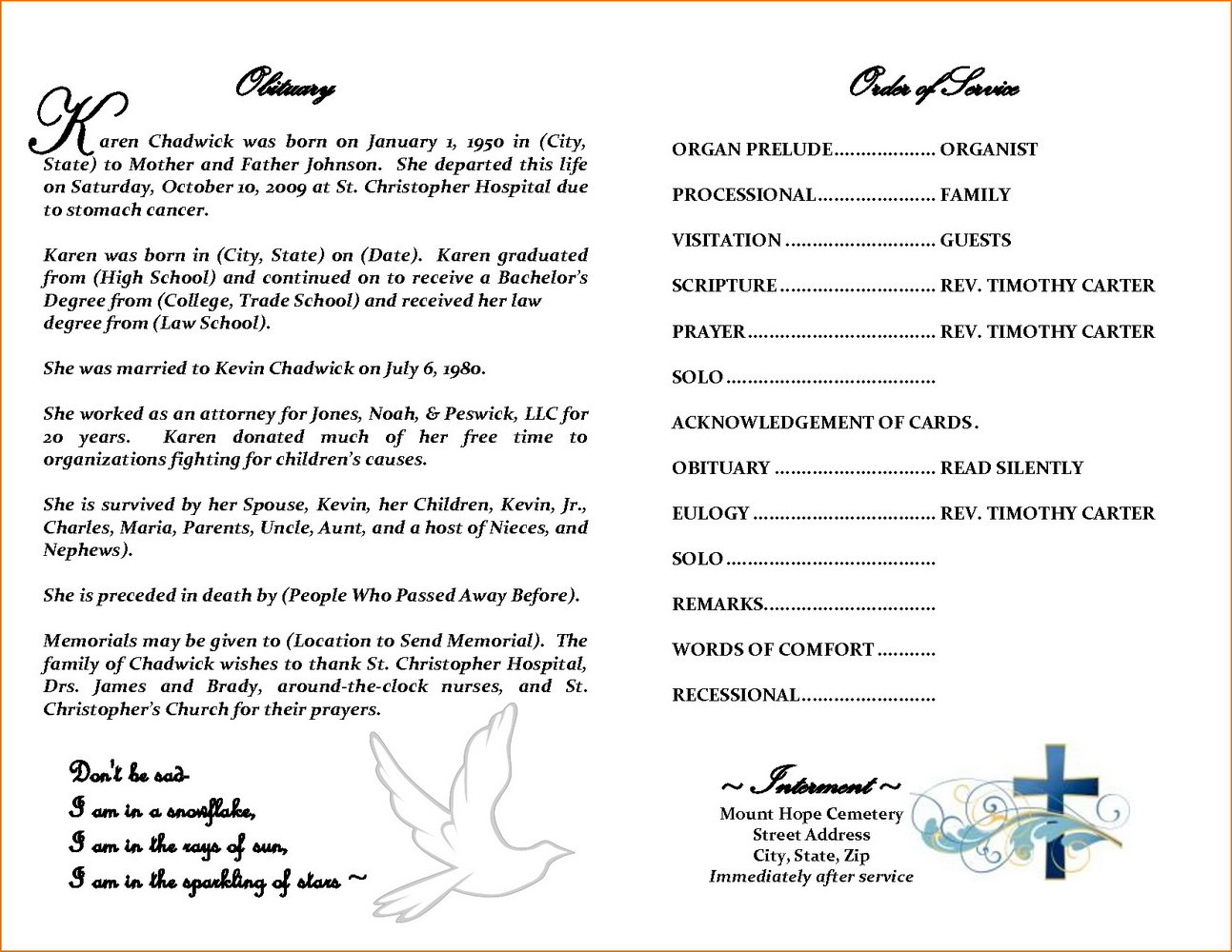Template For Obituary Program