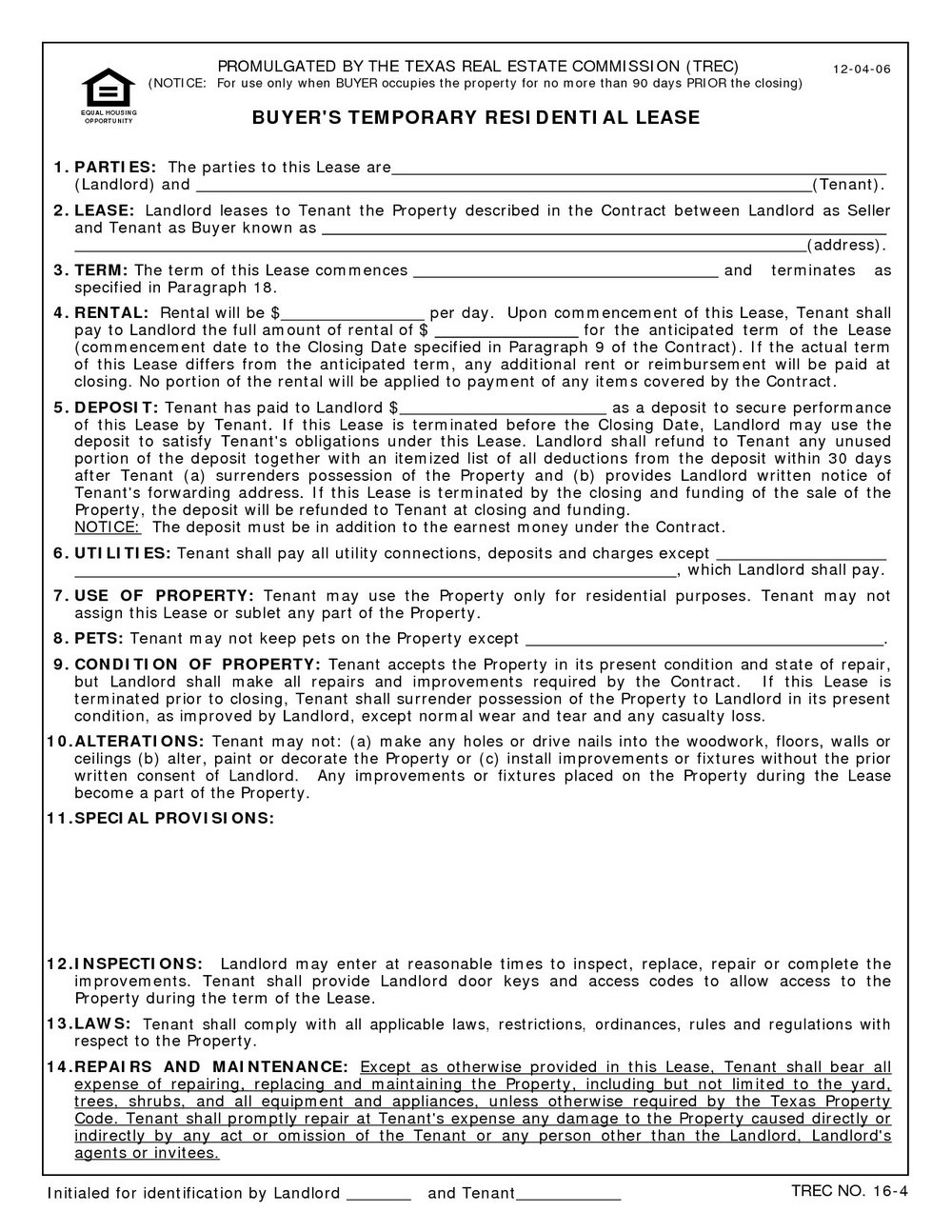 Texas Residential Lease Agreement Template