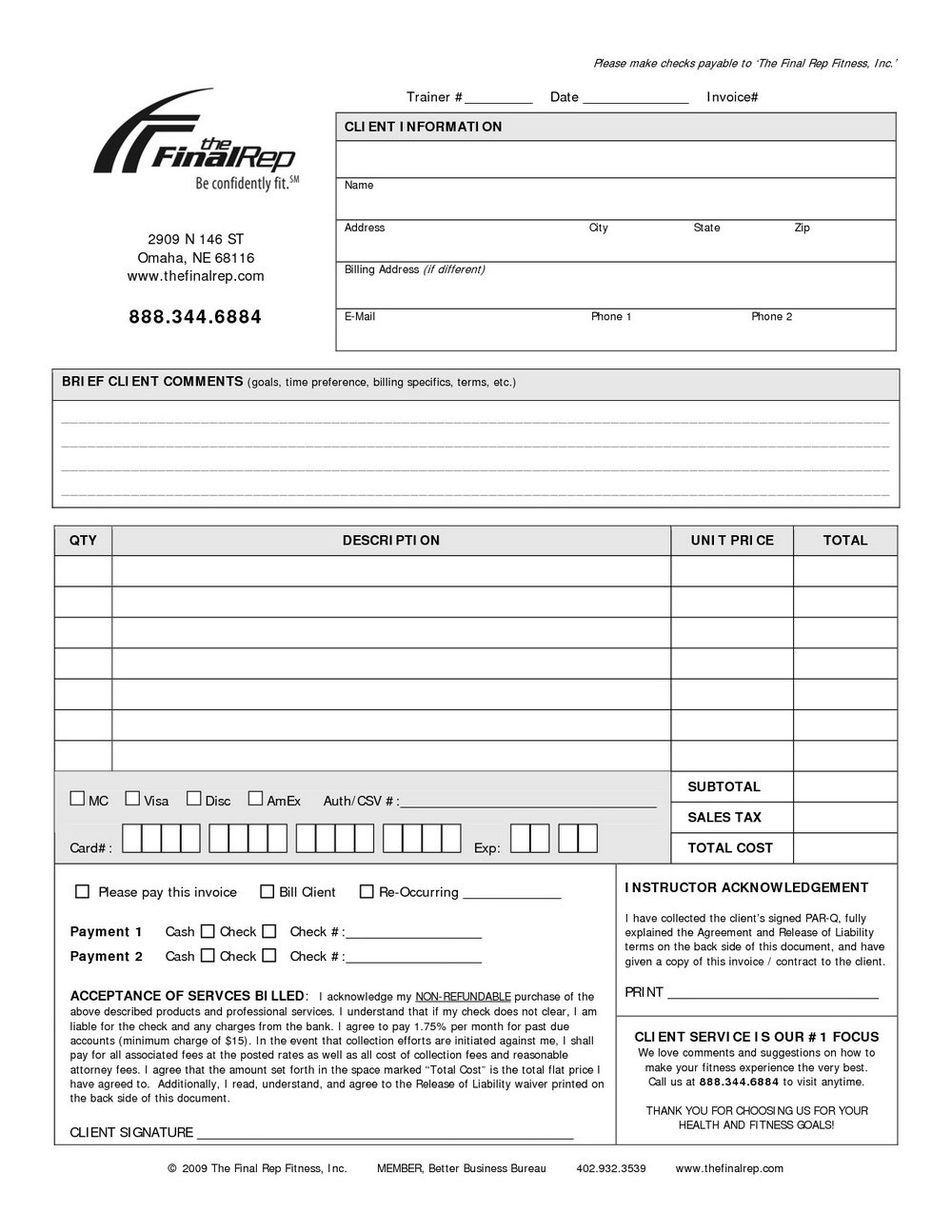 Training Invoice Template Doc