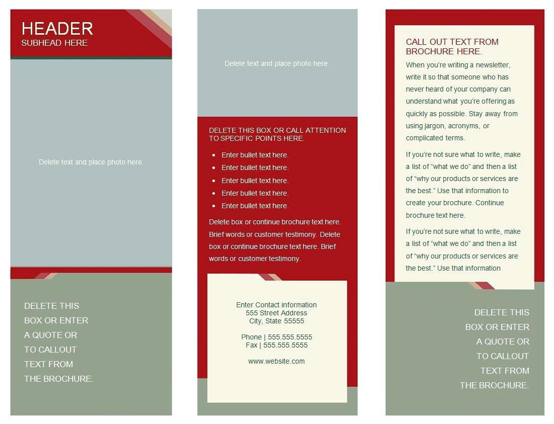 Tri Fold Brochure Template Google Docs Free