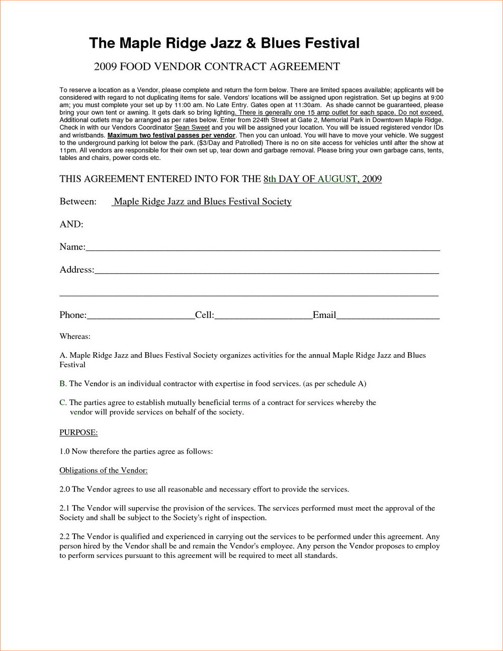 Vendor Contract Template For An Event