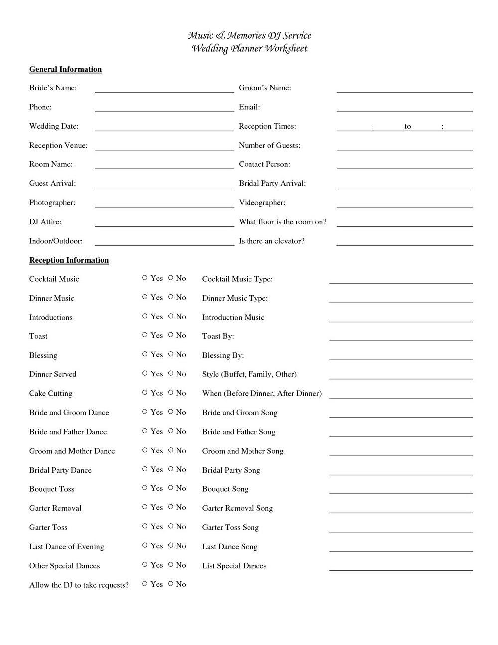 Wedding Reception Timeline Template Pdf