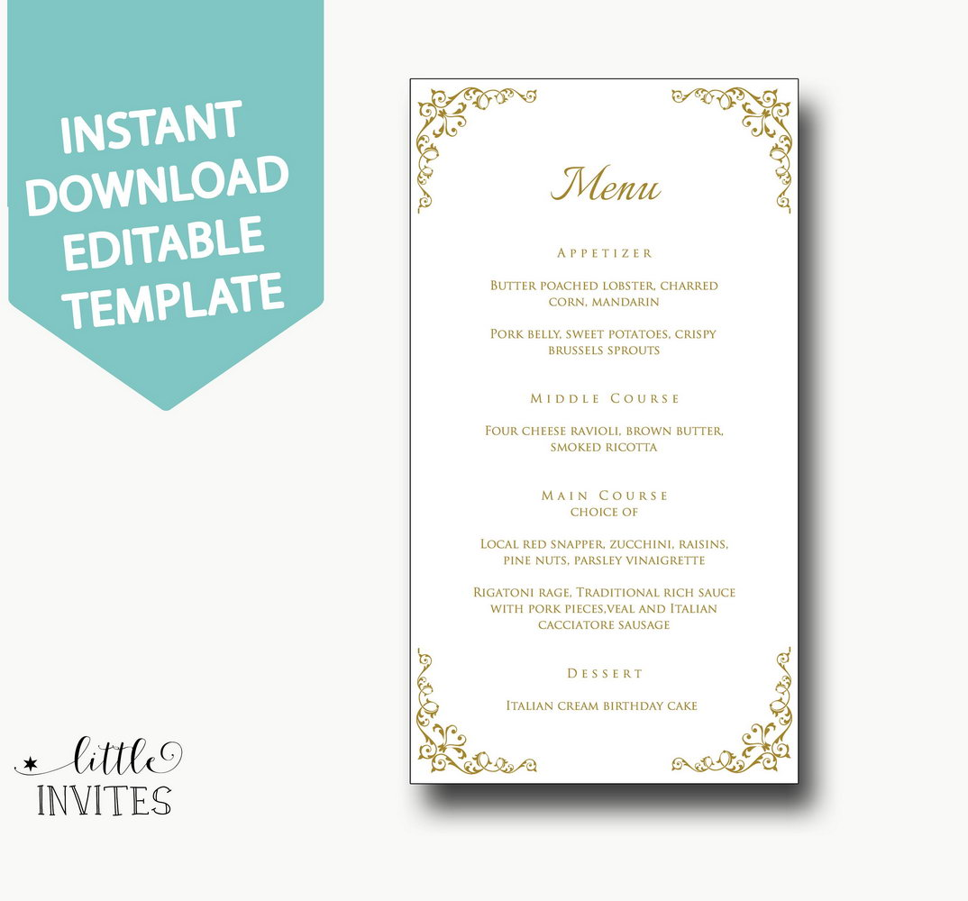 Wedding Rsvp Menu Choice Template