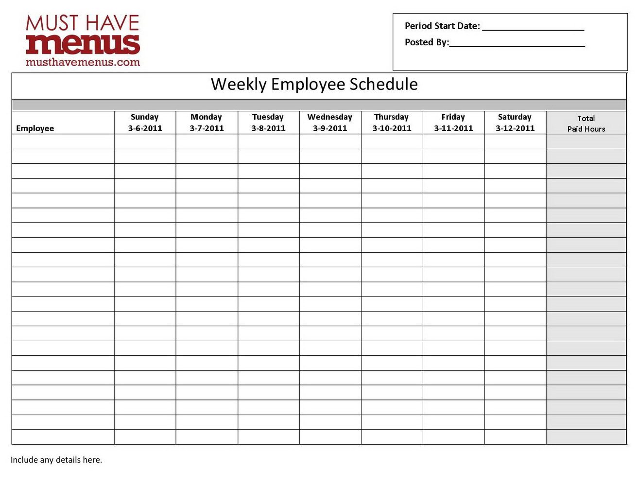 Weekly Employee Schedule Template Pdf