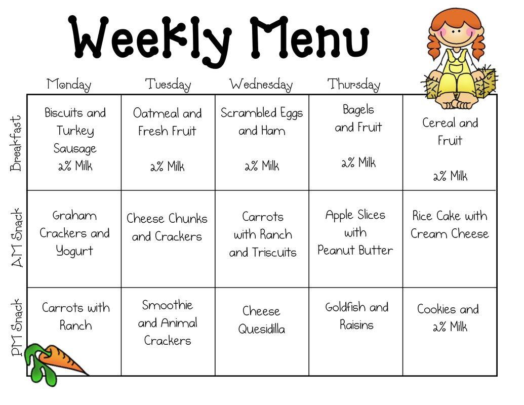 Weekly School Lunch Menu Template