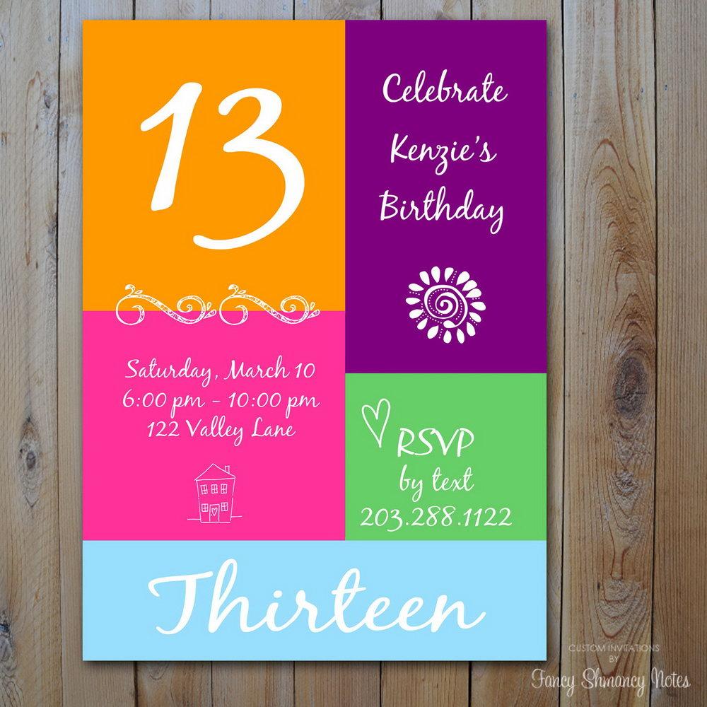 13th Birthday Party Invite Templates