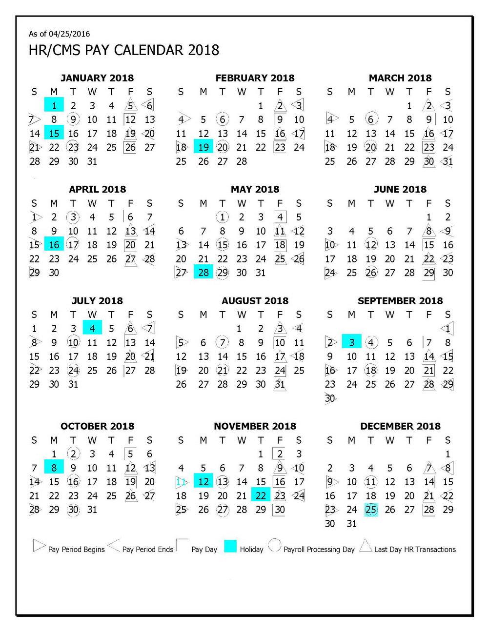 2018 Weekly Payroll Calendar Template