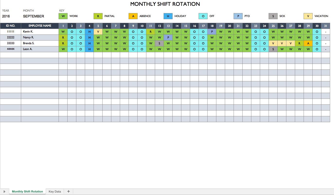 24 7 Shift Schedule Template